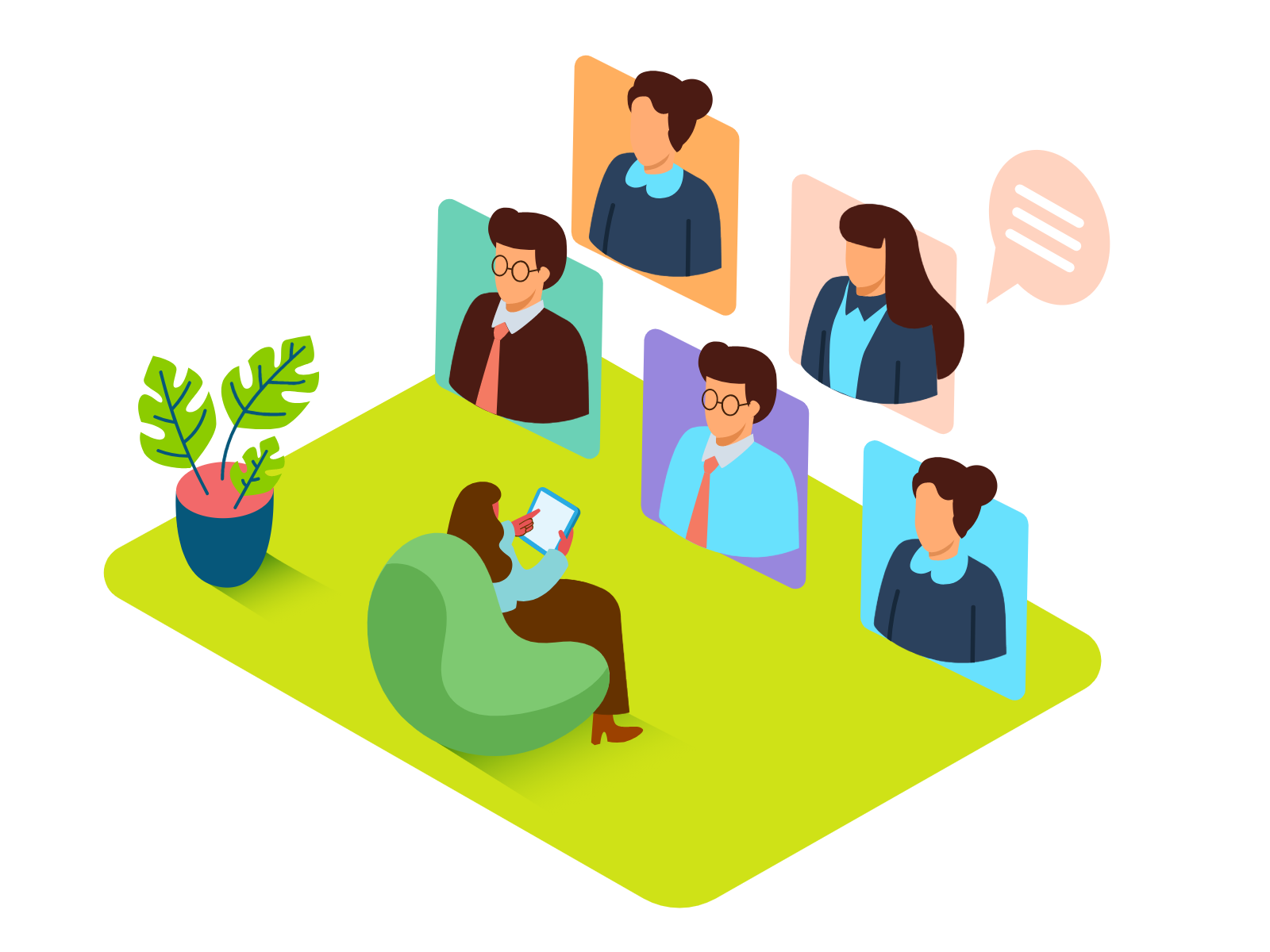 an isometric image of a person sitting in a chair, meeting with others virtually