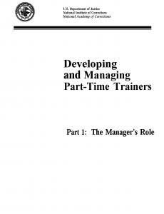 Developing and Managing Part-time Trainers, Pts. 1 and 2 Cover
