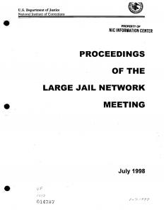 Large Jail Network Meeting, July 12-14, 1998, Longmont, Colorado; Proceedings of the Large Jail Network Meeting Cover