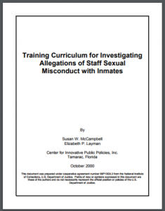 Training Curriculum for Investigating Allegations of Staff Sexual Misconduct with Inmates [Lesson Plans] Cover