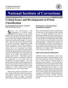 Critical Issues and Developments in Prison Classification Cover
