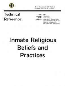 Inmate Religious Beliefs and Practices TRM  Cover