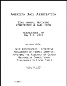 Effective Management of Female Inmates: Applying the Research on Gender Responsive Correctional Strategies to Local Jails Cover