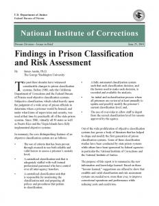Findings in Prison Classification and Risk Assessment Cover