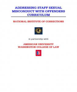 Addressing Staff Sexual Misconduct with Offenders Curriculum: Instructor's Guide Cover