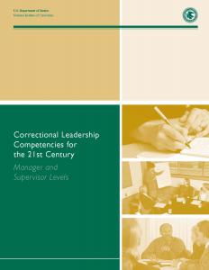 Correctional Leadership Competencies for the 21st Century: Manager and Supervisor Levels Cover
