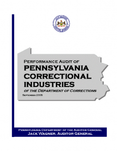 Performance Audit of Pennsylvania Correctional Industries of the Department of Corrections Cover