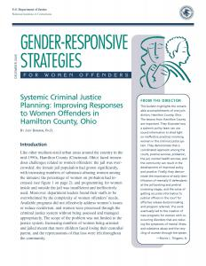 Systemic Criminal Justice Planning: Improving Responses to Women Offenders in Hamilton County, Ohio Cover