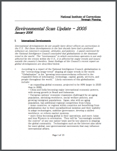 Environmental Scan Update - 2005 Cover