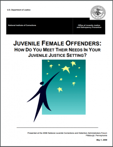 Juvenile Female Offenders: How Do You Meet Their Needs In Your Juvenile Justice Setting? [Participant's Manual] Cover