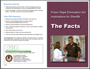 Prison Rape Elimination Act: Implications for Sheriffs: The Facts Cover