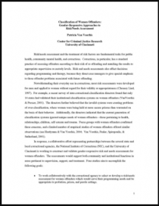 Classification of Women Offenders: Gender-Responsive Approach to Risk/Needs Assessment Cover
