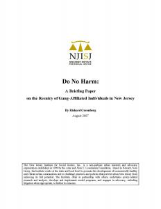 Do No Harm:  A Briefing Paper on the Reentry of Gang-Affiliated Individuals in New Jersey Cover