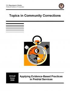 Topics in Community Corrections, Annual Issue 2008: Applying Evidence-Based Practices in Pretrial Services Cover