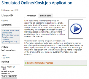 simulated online kiosk job application national institute of