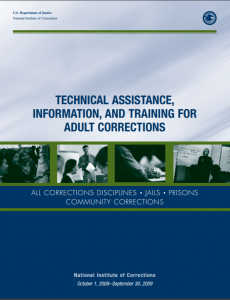 NIC Fiscal Year 2009 Service Plan: Technical Assistance, Information, and Training for Adult Corrections Cover