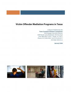 Victim Offender Mediation Programs in Texas Cover