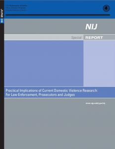 Practical Implications of Current Domestic Violence Research:  For Law Enforcement, Prosecutors and Judges Cover
