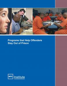 Programs that Help Offenders Stay Out of Prison Cover