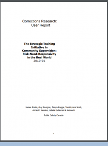 The Strategic Training Initiative in Community Supervision: Risk-Need-Responsivity in the Real World Cover