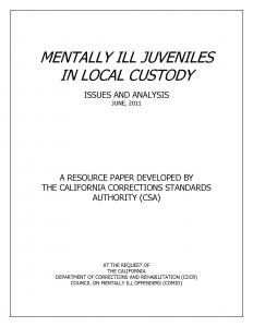 Mentally Ill Juveniles in Local Custody: Issues and Analysis Cover