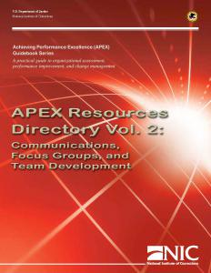 APEX Resources Directory Vol. 2: Communications, Focus Groups, and Development Cover
