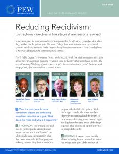 Reducing Recidivism: Corrections Directors in Five States Share Lessons Learned Cover