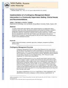 Implementation of a Contingency Management-Based Intervention in a Community Supervision Setting: Clinical Issues and Recommendations Cover