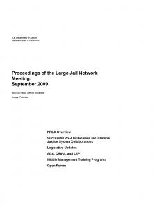 Proceedings of the Large Jail Network Meeting Aurora, Colorado September 21-23, 2009 Cover