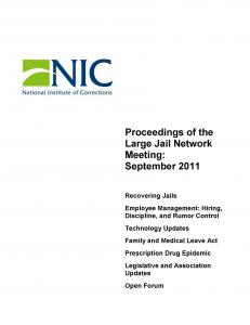 Proceedings of the Large Jail Network Meeting Aurora, Colorado September 19-21, 2011 Cover