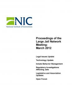 Proceedings of the Large Jail Network Meeting Aurora, Colorado March 18-20, 2012 Cover