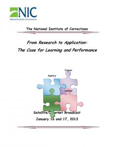 From Research to Application: The Case for Learning and Performance Cover