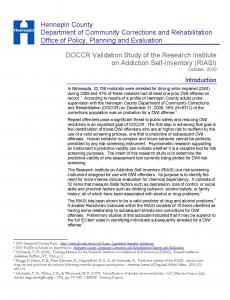 DOCCR Validation Study of the Research Institute on Addiction Sefl-Inventory (RIASA) Cover