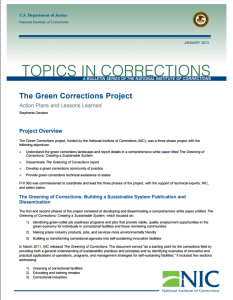 The Green Corrections Project: Action Plans and Lessons Learned cover