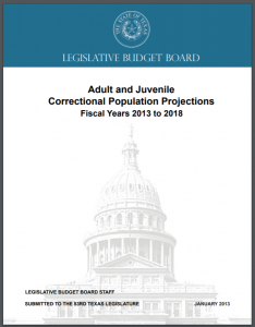 Adult and Juvenile Correctional Population Projections: Fiscal Years 2013 to 2018 Cover