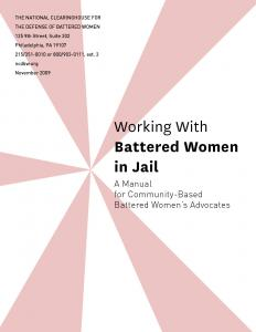 Working With Battered Women in Jail: A Manual for Community-Based Battered Women's Advocates Cover