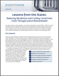 Lessons from the States: Reducing Recidivism and Curbing Corrections Costs Through Justice Reinvestment Cover