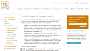 PREA Youthful Inmate Implementation Cover