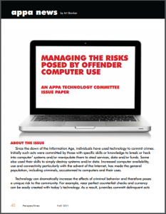Managing the Risks Posed by Offender Computer Use: An APPA Technology Committee Issue Paper Cover