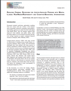 Reducing Criminal Recidivism for Justice-Involved Persons with Mental Illness: Risk/Needs/Responsivity and Cognitive-Behavioral Interventions Cover