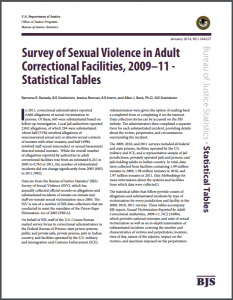 Survey of Sexual Violence in Adult Correctional Facilities, 2009–11 - Statistical Tables Cover