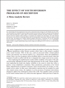 The Effect of Youth Diversion Programs on Recidivism: A Meta-Analytic Review Cover