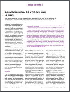Solitary Confinement and Risk of Self-harm Among Jail Inmates Cover