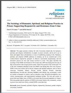 The Sociology of Humanist, Spiritual, and Religious Practice in Prison: Supporting Responsivity and Desistance from Crime Cover