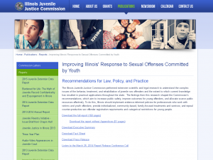 Improving Illinois' Response to Sexual Offenses Committed by Youth: Recommendations for Law, Policy, and Practice Cover