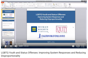 LGBTQ Youth and Status Offenses: Improving System Responses and Reducing Disproportionality [Webinar] Cover