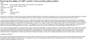 Ensuring the Safety of LGBT Youths in the Juvenile Justice System Cover