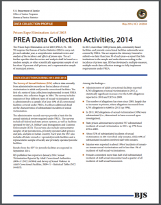 PREA Data Collection Activities, 2014 Cover