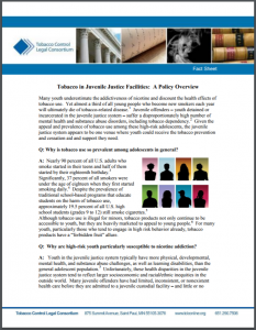 Tobacco in Juvenile Justice Facilities: A Policy Overview Cover