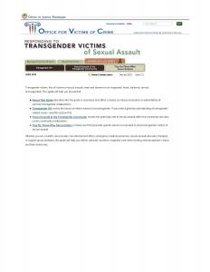 Responding to Transgender Victims of Sexual Assault Cover